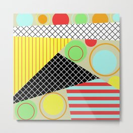 Mid Century Abstract Pastel Art Metal Print