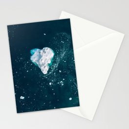 Heart of Winter - Aerial view of Icebergs in the arctic Ocean Stationery Cards