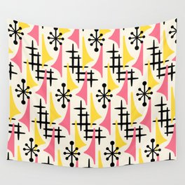 Mid Century Modern Atomic Wing Composition Pink & Yellow Wall Tapestry
