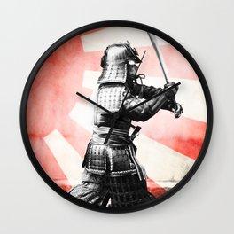 Samurai Warrior Rising Sun Wall Clock