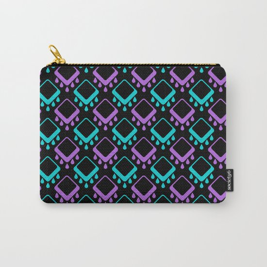 Abstract colorful geometric pattern . Black , Magenta , turquoise . Carry-All Pouch