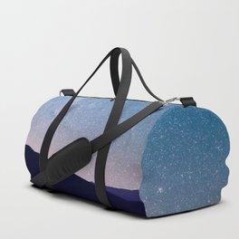 Navy blue blush pink starry night landscape Duffle Bag