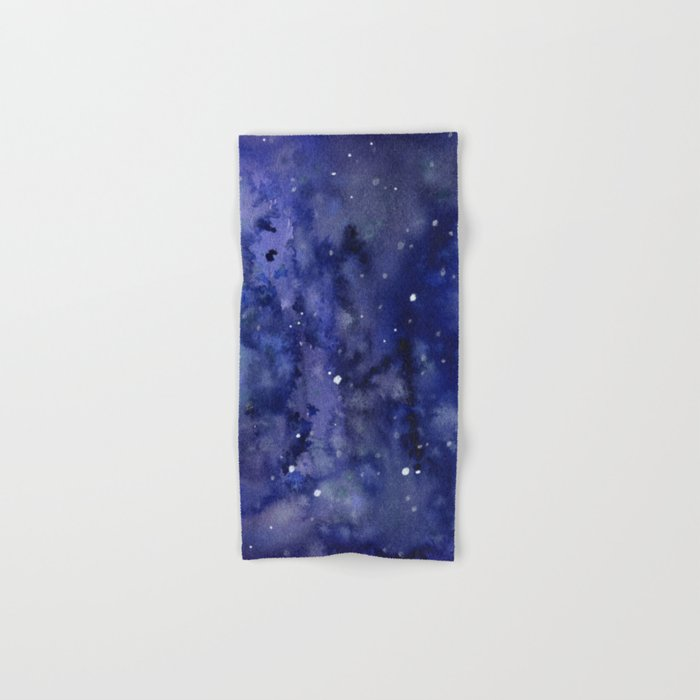 Night Sky Galaxy Nebula Stars Watercolor Space Texture Hand & Bath Towel