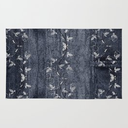 Flower Vines and Concrete Grunge Rug