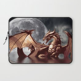 Mystical Dragon and Moon Fantasy Design Laptop Sleeve