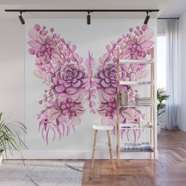 Flowery Pink Princess Butterfly Wall Mural