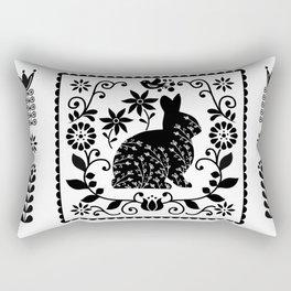 Woodland Folk Black And White Bunny Tile Rectangular Pillow