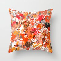 girls Throw Pillows featuring Girls by Mouni Feddag