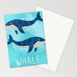 Modern nursery whales Stationery Cards