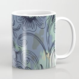 Floral Line Art with Watercolor Coffee Mug