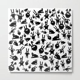 Black bunnies Metal Print
