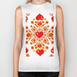 Red Heart Geometric Art Garden White Pattern Biker Tank