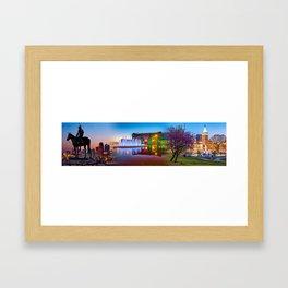Kansas City Scout - Union Station - J.C. Nichols Memorial Fountain Panorama Cityscape Collage Framed Art Print