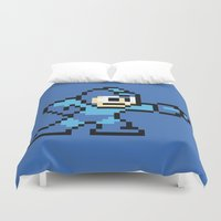mega man Duvet Covers featuring Pixelated Mega Man by Katadd