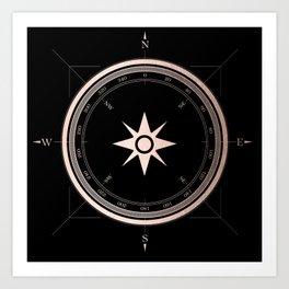 Rosegold Compass on Black II Art Print