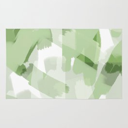 Palm Leaf Greens - Abstract digital painting Rug