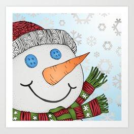 Snowy Snowman Art Print