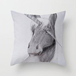 STABBED UNICORN Throw Pillow