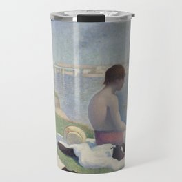 Bathers in Asnieres by Georges Seurat, 1884 Travel Mug