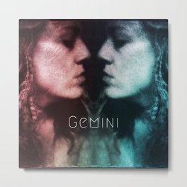 Gemini astrology, twins, two girls, mirror image, astrological sign, horoscope cosmic universe Metal Print