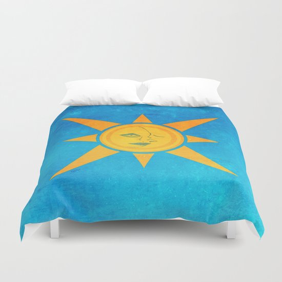 Sun Shining and Moon Sleeping Duvet Cover