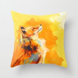 Blissful Light - Fox portrait Throw Pillow