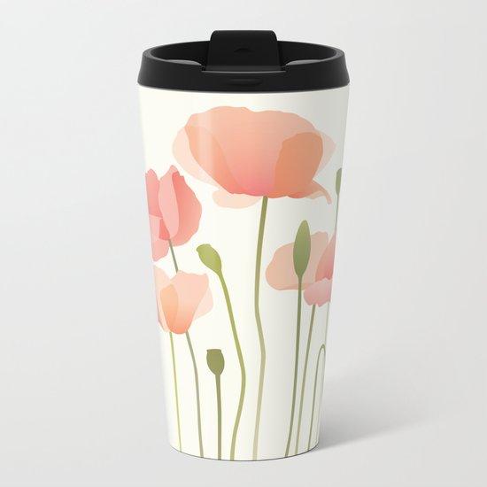Blushing Poppies I Metal Travel Mug