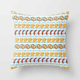Beer, pretzels, and sausages for the Oktoberfest Throw Pillow