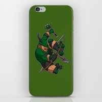 robin hood iPhone & iPod Skins featuring Robin Hood Roller Derby logo by Andrew Mark Hunter