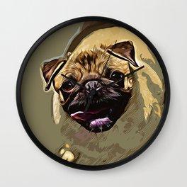 hungry pug dog vector art Wall Clock