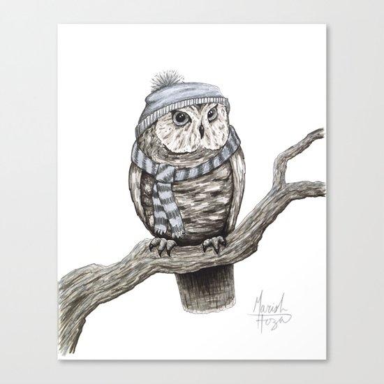Scarf Owl Canvas Print