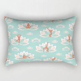 Yoga asanas pattern on teal Rectangular Pillow