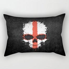Flag of England on a Chaotic Splatter Skull Rectangular Pillow