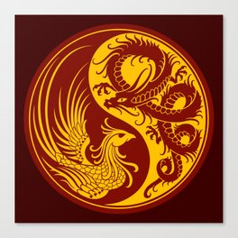 Yellow and Red Dragon Phoenix Yin Yang Canvas Print