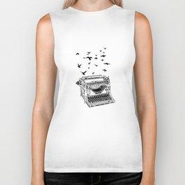 Vintage Typewriter Birds - Freedom Of Speech - Press Biker Tank