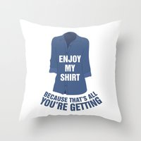 regina mills Throw Pillows featuring Regina Sassy Mills | Enjoy my shirt by CLM Design