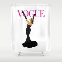 vogue Shower Curtains featuring Vintage Vogue by vogel