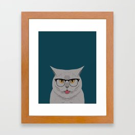 Kai - British shorthair cat gifts for cat lovers, cat lady gifts Cat people gifts, Hipster Glasses Framed Art Print