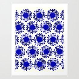 vintage flowers blue  Art Print