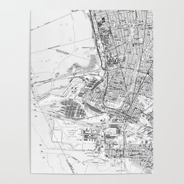 Vintage Map of Oakland California (1959) BW Poster