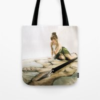 tinker bell Tote Bags featuring Tinker Bell by Julie-Chantal