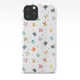 Pixel Eeveelutions and Hearts Pattern iPhone Case