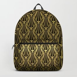 Overlapping Shell Pattern in Gold Backpack