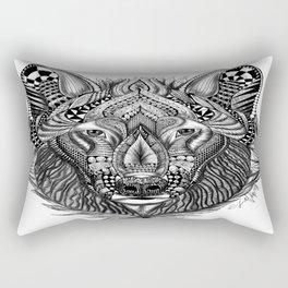 Zen Doodle Wolf Rectangular Pillow