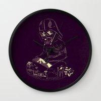 dark side Wall Clocks featuring Dark Side by yortsiraulo
