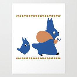 chuu and chibiTotoro Art Print