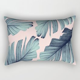Blush Banana Leaves Dream #9 #tropical #decor #art #society6 Rectangular Pillow