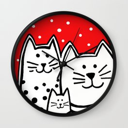 Three Kitties With Polka Dots Wall Clock