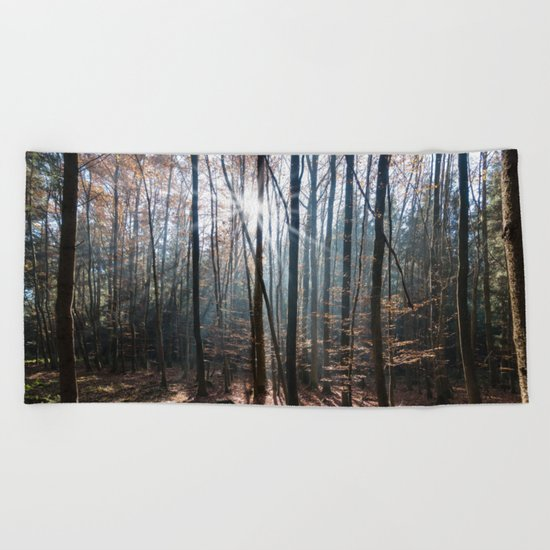 Light Shining in the Forest Beach Towel