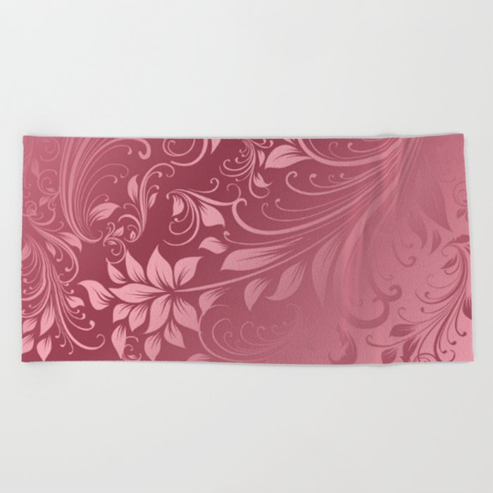 Rose quartz swirls leaves Beach Towel